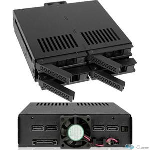 ICY DOCK MB324SP-B 4Bay 2.5 SAS SATA HDD SSD HS Mobile Rack f Single 5.25Bay